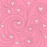 Background with hearts and swirls. Pink background with hearts and swirls Royalty Free Stock Image
