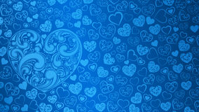 Background of hearts with swirls. Background of big and small hearts with swirls in light blue colors Stock Photo