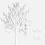 Background with hearts and tree in origami style Royalty Free Stock Images