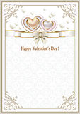 Background with hearts on Valentine's Day. Is decorated ribbon with a bow Stock Image