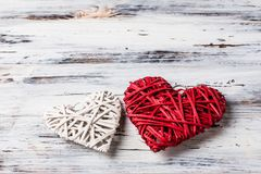 Background with hearts, Valentine. Valentine`s Day. Love. wicker hearts. Place for text. Romantic background copy space. Background with hearts, Valentine stock photography