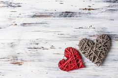 Background with hearts, Valentine. Valentine`s Day. Love. wicker hearts. Place for text. Romantic background copy space. Background with hearts, Valentine stock photos