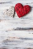 Background with hearts, Valentine. Valentine`s Day. Love. wicker hearts. Place for text. Romantic background copy space. Background with hearts, Valentine stock photo