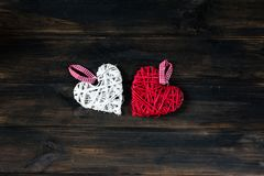 Background with hearts, Valentine. Valentine`s Day. Love. wicker hearts. Place for text. Romantic background copy space. Background with hearts, Valentine royalty free stock image