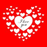 Background of hearts for Valentine`s day. Background of hearts for Valentine`s day on a red background Royalty Free Stock Photography