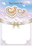 Background with hearts on Valentine's Day. Ribbon is decorated with with a bow Royalty Free Stock Photography
