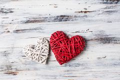 Background with hearts, Valentine. Valentine`s Day. Love. wicker hearts. Place for text. Romantic background copy space. Background with hearts, Valentine royalty free stock photography