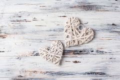 Background with hearts, Valentine. Valentine`s Day. Love. wicker hearts. Place for text. Romantic background copy space. Background with hearts, Valentine stock images