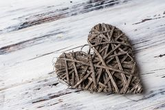 Background with hearts, Valentine. Valentine`s Day. Love. wicker hearts. Place for text. background copy space. Background with hearts, Valentine. Valentine`s royalty free stock photography