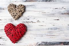 Background with hearts, Valentine. Valentine`s Day. Love. wicker hearts. Place for text. background copy space. Background with hearts, Valentine. Valentine`s royalty free stock photo