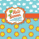 Background Hello summer with cartoon sun and cloud Royalty Free Stock Images