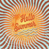 Background Hello summer with palm tree.Vintage Royalty Free Stock Photography