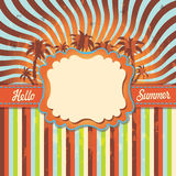Background Hello summer with palm tree.Vintage Royalty Free Stock Photos
