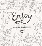 Background with herbs. Vector illustration. Hand drawn artwork. Enjoy card. Stock Photography