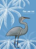 Background with heron and plant pattern Royalty Free Stock Photo