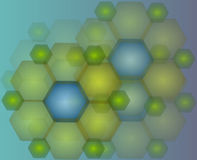 Background hexagon. Illustration of hexagon green and blue for a background stock illustration