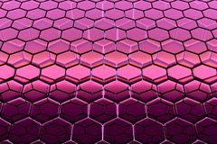 Background of hexagonal lattice structures, similar to honeycombs. Background - hexagonal lattice structure similar to a honeycomb. Purple and Black cell