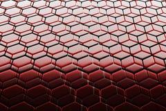 Background of hexagonal lattice structures, similar to honeycombs. Background - hexagonal lattice structure similar to a honeycomb. Red and Black cell honeycomb