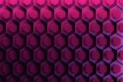 Background with hexagonal shiny repeating shapes in dark blue to purple colors. 3D illustration royalty free illustration