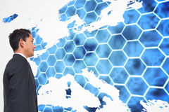 Background with hexagons and europa map Royalty Free Stock Photography