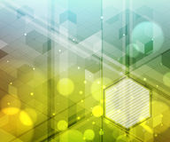Background of hexagons, lighting effects, blurred light.  Modern abstract design. Royalty Free Stock Photography