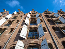 Background of Historic Warehouses in Amsterdam, Netherlands Stock Photo