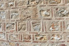 Background of historical stone and brick wall royalty free stock photos