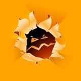Background with hole. Orange background with hole and eyes Stock Photography