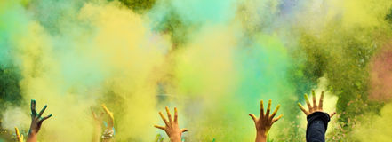 Background. Holi festival. With colorful hands royalty free stock images