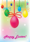 Background. A holiday. Color easter egg with bows. Royalty Free Stock Photos