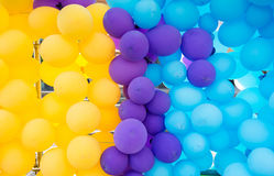 Background of holiday decorations colored balloons Royalty Free Stock Photo