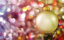 Background of holiday lights with ball Royalty Free Stock Images