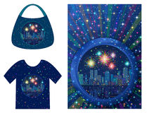 Background with Holiday Night City. Holiday Background, Round Porthole Window on Blue Wall with Night City Landscape, Skyscrapers, Fireworks and Place for Text Royalty Free Stock Images