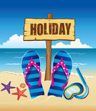 Background with holiday sign, flip and starfish Stock Photo