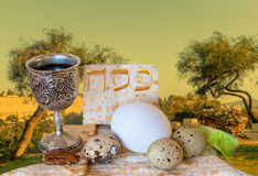 Background with holy hills of Jerusalem and traditional food for Passover Stock Photo