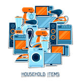 Background with home appliances. Household items for sale and shopping advertising poster Royalty Free Stock Photography