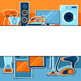 Background with home appliances. Household items for sale and shopping advertising poster Stock Photos