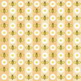 Background from honey. Background with bees and flowers on yellow and beige strips Royalty Free Stock Photos