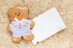 Background with a honey-cake bear Stock Photo