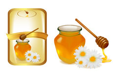 Background with honey and wood stick and label. Royalty Free Stock Image