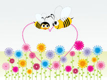 Background honeybee with heart shape Royalty Free Stock Images