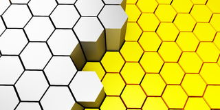 Background honeycomb. Background, honeycombs yellow and metallic Stock Photos