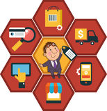 Background honeycomb structure with interface icons. Cartoon man on the background of e-commerce icons. Business concept royalty free illustration