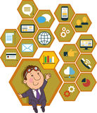 Background honeycomb structure with interface icons. Cartoon man on the background of the honeycomb structure with interface icons. Global business concept. Man stock illustration