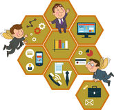 Background honeycomb structure with interface icons. Cartoon people on the background of the honeycomb structure with interface icons. Global business concept royalty free illustration
