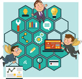 Background honeycomb structure with interface icons. Hard Working people cartoon icons SEO optimization concept on the background of the honeycomb structure vector illustration