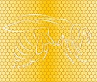 Background with honeycombs and bee. A seamless background with honeycombs and a bee Stock Photos
