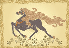 Background with horse. And ornament Stock Photos