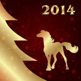 Background with horse silhouette and Christmas tree Royalty Free Stock Images