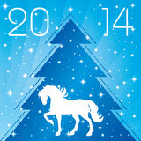 Background with horse silhouette and Christmas tree Royalty Free Stock Photography